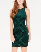 B DARLIN JUNIORS FLOCKED BODYCON DRESS EMERALD GREEN SIZE 5/6