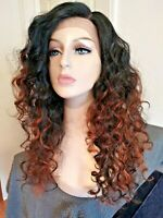 Long curly #2 brown lace front human hair blended wig, auburn highlights, 24 in.