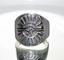 ROUND STERLING SILVER MEN'S RING EGYPTIAN SUN DISK ALL SEEING EYE OF RA SIZE 10