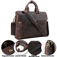 """Retro Leather Men's 15"""" Laptop Briefcase Messenger Shoulder Bag Office Handbag"""