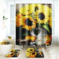 4Pcs Sunflower Bathroom Rug Bath Mat Lid Toilet Seat Lid Cover +  Shower Curtain