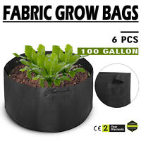 6 Pack 100 Gallon Fabric Plant Grow Bags With Handles Gardening Pots Overheads