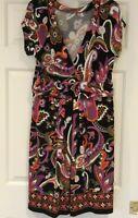 Womens Stretch Cap Sleeve Dress Size Large V-Neck Empire Waist MultiColor Print