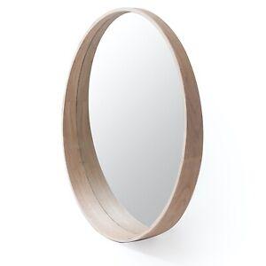 Otway Round Wood Mirror With Curved Shelf Natural 70cm x 8cm