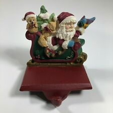 Vintage Trim a Home Cast Iron and Resin Stocking Holder Santa in Sleigh Animals