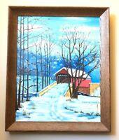 Vtg Painting Folk Art Prim Covered Bridge in Winter Irene Hartmann Artist Sears