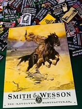 SMITH & WESSON HOSTILES METAL TIN SIGN W/ FREE PATCH vintage (1876)