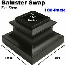 Baluster Swap Flat Shoes for Metal Balusters (100-Pack) NO Screw (Satin Black)