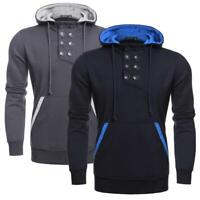 Men's Hooded Button Pullover Casual Fleece Hoodie Sweatshirt with GDY7