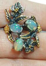 925 silver flower garden triple fire 2ct Ethiopian Opal gemstone ring size 8