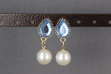 Lt Blue earrings faux pearl dangle faceted oval teardrop post stud door knocker