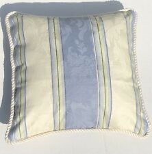 French Country Cottage Romantic Pillow Blue Ivory Farm Cushion Stripe Waverly
