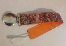 Baby Boy Girl Pacifier Clip Holder Ribbon Browning Deer On Camo Camouflage Orang