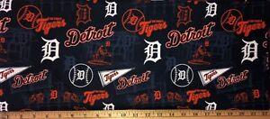 "NEW MLB COTTON Fabric 1/4 yard=9""x44"" DETROIT TIGERS STADIUM PENNANT DIY MASK !"