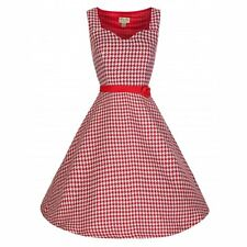 NEW VINTAGE 50'S STYLE NANCY RED DOGTOOTH ROCKABILLY PARTY TEA DRESS SIZE 10