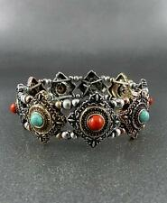 Burnish Triangle Shape  Silver & Copper Tone Turquoise Red Bead Stretch Bracelet