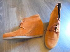 BROWN TAN SUEDE WEDGE SHOES   SIZE 40  UK 6.5 LACED ideal MOTHERS DAY PRESENT