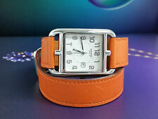 Genuine HERMES CAPE COD PM Date Watch Orange Large Size Bracelet Band CC2.710