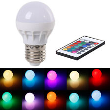 3W E27 AC 85-265V RGB LED Light Bulb Lamp Color Changing+IR Remote Control AT6