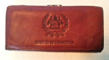 Made in Afghanistan leather clutch wallet purse vintage brown national emblem
