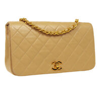 CHANEL Full Flap Quilted CC Chain Shoulder Bag 1446159 Purse Beige Leather 34987