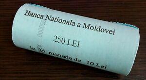 Moldova 10 lei 2021 Comemorative 30th Anniversary NBM Mint Roll of 25 Coins #236