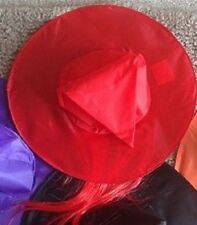 Halloween Red Witch Hat w/ Hair