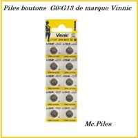 Piles boutons alcaline AG0/1/2/3/4/5/6/7/8/9/10/11/12/13 de marque Vinnic