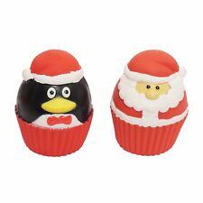 Rosewood Christmas Dog Cupcake Squeakies 2 Pack Toy Santa Penguin Cute Play