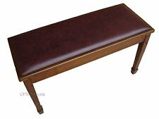 GENUINE LEATHER Walnut Grand Duet Piano Bench/Stool/Chair