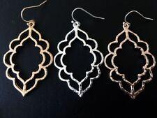 Silver Gold Rose Hoop Earrings Teardrop Boho Ethnic Moroccan Ottoman Style