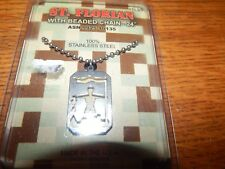 "NEW MILITARY GI JEWELRY STAINLESS"" ST. FLORIAN"" PENDANT & CHAIN  USA"
