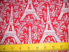 SALE M Miller Fabric Petite Paris White Eiffel Towers on Red 4 Quilts & Pillows
