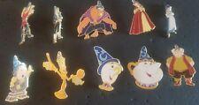 Disney Fantasy, complete set of 10 Beauty Beast Sorceror hat pins RARE HTF