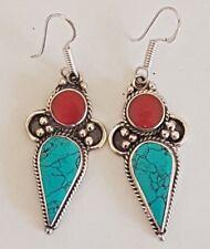 VINTAGE Tibetan Silver Turquoise & Coral LUXURY Boho EARRINGS Nepal DROP DANGLE1
