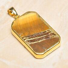 "Handmade Natural Golden Tiger's Eye Gemstone Pendant 2"" #P17304"