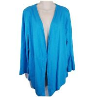 Women CHICOS Size 2 Large 12 Open Front Cardigan Sweater Top Blue Stretch C34