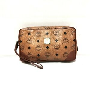 Auth MCM Brown Black Synthetic Leather Mens Clutch Bag