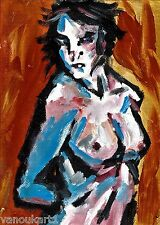 "Absract modern nude girl 8x11 painting ""Salome"" by artist Anninos"