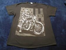 Skeleton Motorcycle Rider Historic Route US 66 T-Shirt Mens XL
