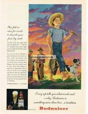 1946 Budweiser Beer Fishing Theme Small Boy with Fising Pole Dog Vtg Print Ad