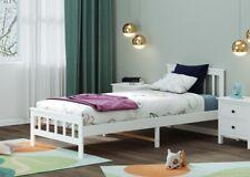 3FT Single Bed Frame Solid Wooden Slatted Bedstead White for Kid Adult Guest UK