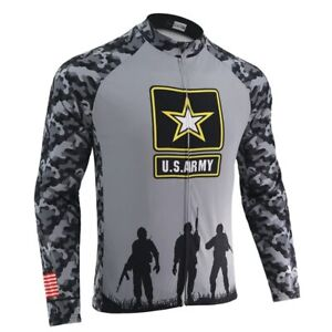 United States Army Men Long Sleeve Cycling Jersey Winter Fleece & No Fleece Road