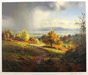 "REX PRESTON ""Distant Storm"" countryside walk LTD SIGNED SIZE:59cm x 68cm NEW"