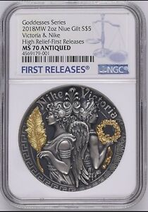 NGC MS70 VICTORIA & NIKE Strong and Beautiful Goddesses 2 Oz Silver Coin 5$ 2018