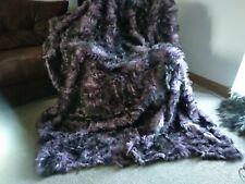 "Genuine Fur Shearling Blanket Throw Carpet 78 x 86"" Real sheepskin fur Purple"