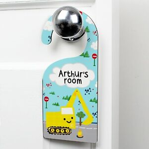 Personalised Digger Door Hanger Sign For Boys Bedroom Any Name Nursery New Baby