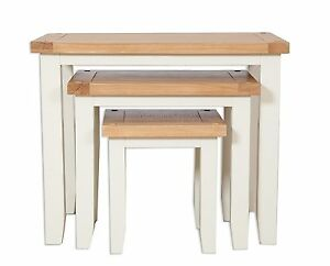 Hobart Ivory/Solid Oak Top Nest Of Tables / 3 Nesting Tables Fully Assembled