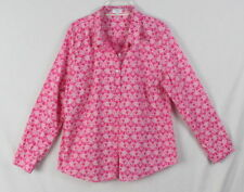 Crown & Ivy Blouse L size Pink White Elephants Womens Lightweight Cotton Top
