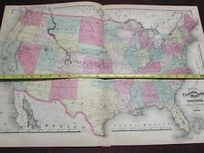 Original 1871 hand-tinted map, UNITED STATES & TERRITORIES,  VG++ double-page